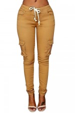 Slouchy Solid Color Long Khaki Cargo Pant
