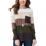 Gorgeous Elastic Green Knitted Jumpers Wide Color Stripes