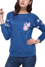 Feminine Blue Autumn Flower Print Tops Round Neck Front Pocket