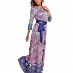 Fetching Fall Red Printed Maxi Dress With Detachable Sash Belt