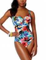 One Piece Plus Ruched Swimwear Floral Print Shoulder Straps
