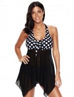 Queen Size Black Mesh Layer Bathing Suits High Rise Bottom