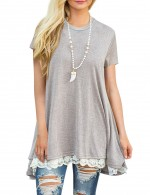 Casual Light Grey Lace Trim Blouses Swing Hem Short Sleeves