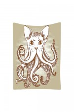 Octopus Tentacles Cat Head Illustration Tapestry Wall