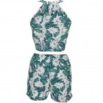Euramerican Two Piece Shorts Set Floral Print Resort Wear