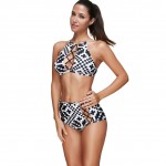 Sunkissed Cross Front Plus Pattern Black And White Bikini