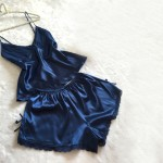 Pretty 2 Piece Blue Silk Short Pyjamas Cami Lace Trim Sleepwear