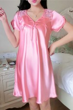 Loose Solid Watermelon Short Sleeve Satin Pajamas Bow-Knot