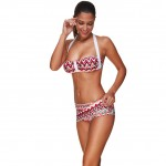 Striking Chevron Print Halter Bandeau Bikini Sets Clasp Back