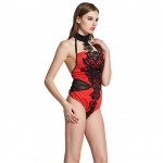 Embroidery Lace High Neck Red Lingerie Bodysuit Open Back