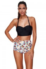 Underwiring Two Piece Plus Halter Top Bathing Suits