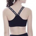 Elastic Straps Black Wicking Sports Bra Removable Pads