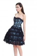 Fascinating Allover Lace Layered Ruffle Skater Corset Dress