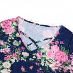 Asymmetric Hem Short Sleeves Vintage Floral Blouse