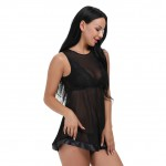 Tempting Black Mesh Babydoll Keyhole Back With Hook