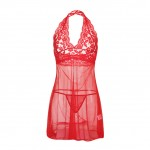 Fiery Red Halter Triangle Cup Babydoll Two Piece Backless
