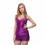 Purple Two Piece Short Sleepwear Lace Trimming Decoration