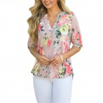 Gracious V Neck Pink Loose Fitting Collarless Blouse