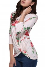 Chic Light Pink Long Sleeve Front Twist Blouse