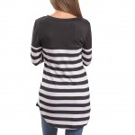 Breathable Black Patch Elbow Striped Blouse One Pocket