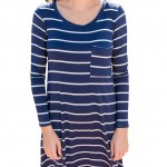 Stylish Striped Mini Dress Blue Full Sleeves Loose Fit