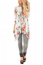 Gorgeous Flower Print Blouse White Round Neck 3/4 Sleeve