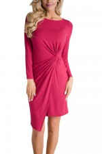 Elegant Rose Red Covered Split Mini Dress Crew Neck