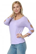 Elegant Solid Purple V Neck Hollow Out T-Shirt Blouse