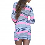 Round Neck Tie Waist 3/4 Sleeves Striped Mini Dress