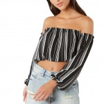 Voguish Black Stripe Pattern Off Shoulder Crop Top