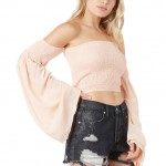 Individual Pink Strapless Crop Top Ruffled Off Shoulder