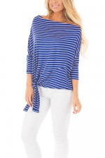 Blue Striped Off Shoulder Dolman Top With Tie Detail