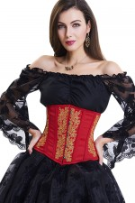Red And Golden 10 Plastic Bone Lace Up Underbust Corset