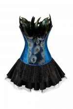 Burlesque Plus Embroidered Peacock Two Pieces Corset Skirt