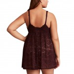 Large Brown Deep V Lace Adjustable Straps Babydolls Backless