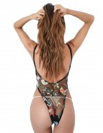 Comfortable Black Sheer Floral Lace Mesh Teddy High Cut Plunge Neck Slim