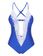 Virtuoso Blue Plunging Neck One Piece Swimsuit Lace Trim Natural Fit
