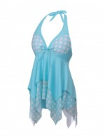 Dreamlike Sky Blue Handkerchief Hem Bikini Two Piece Dot Pattern Plus