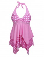 Interesting Pink Two Piece Polka Dot Plus Bikini Flowy Hem Sexy Ladies