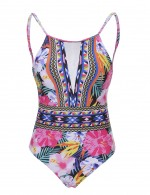 Svelte Floral One Piece Swimsuit Scoop Neck Beachwear