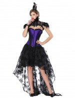 High Quality Purple Asymmetrical Corset Skirt Set Lace Stitching