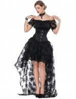 Flawless Black Flower Lace Three Pieces Corset Dress Off Shoulder