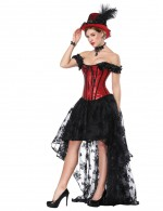 Intriguing Red Ruffled Off Shoulder Bustier Dress Set Bowknot