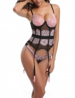 Light Pink Floral Lace Corset 8 Plastic Bones Matching Thong Plus