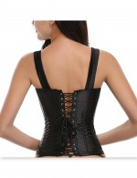 Plus Brocade Black Overbust Corset 10 Steel Bones Zipper Front