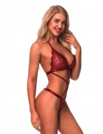 Love Forever Wine Red Tall Cup Self-Tie Halter Floral Lace Teddy