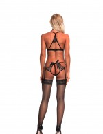 Diaphanous Lace Eyelash Black Cut Out Teddy With Garter Belts