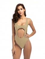 Spectacular Apricot One-Piece Low Neck Beachwear Pad Wireless Ladies