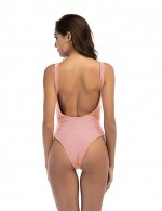 Elegance Pink Removable Padded Bathing Suit 1 Piece High Cut