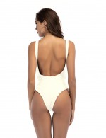Ingenious One Piece White Tank Top Cut Out Swimwear Square Back